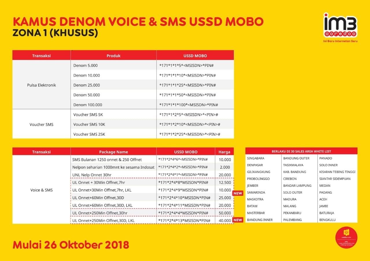 Kamus Dial Ussd Mobo Indosat Paket Telpon Sms Pulsa Maxsi Id
