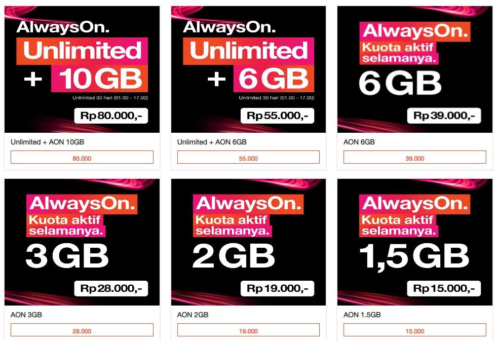 Produk Baru Paket Internet Tri Kuota Aon Unlimited Maxsi Id