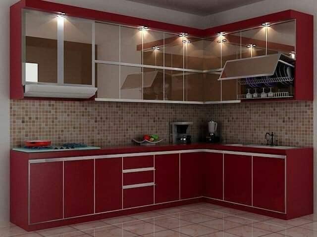 dapur minimalis warna merah
