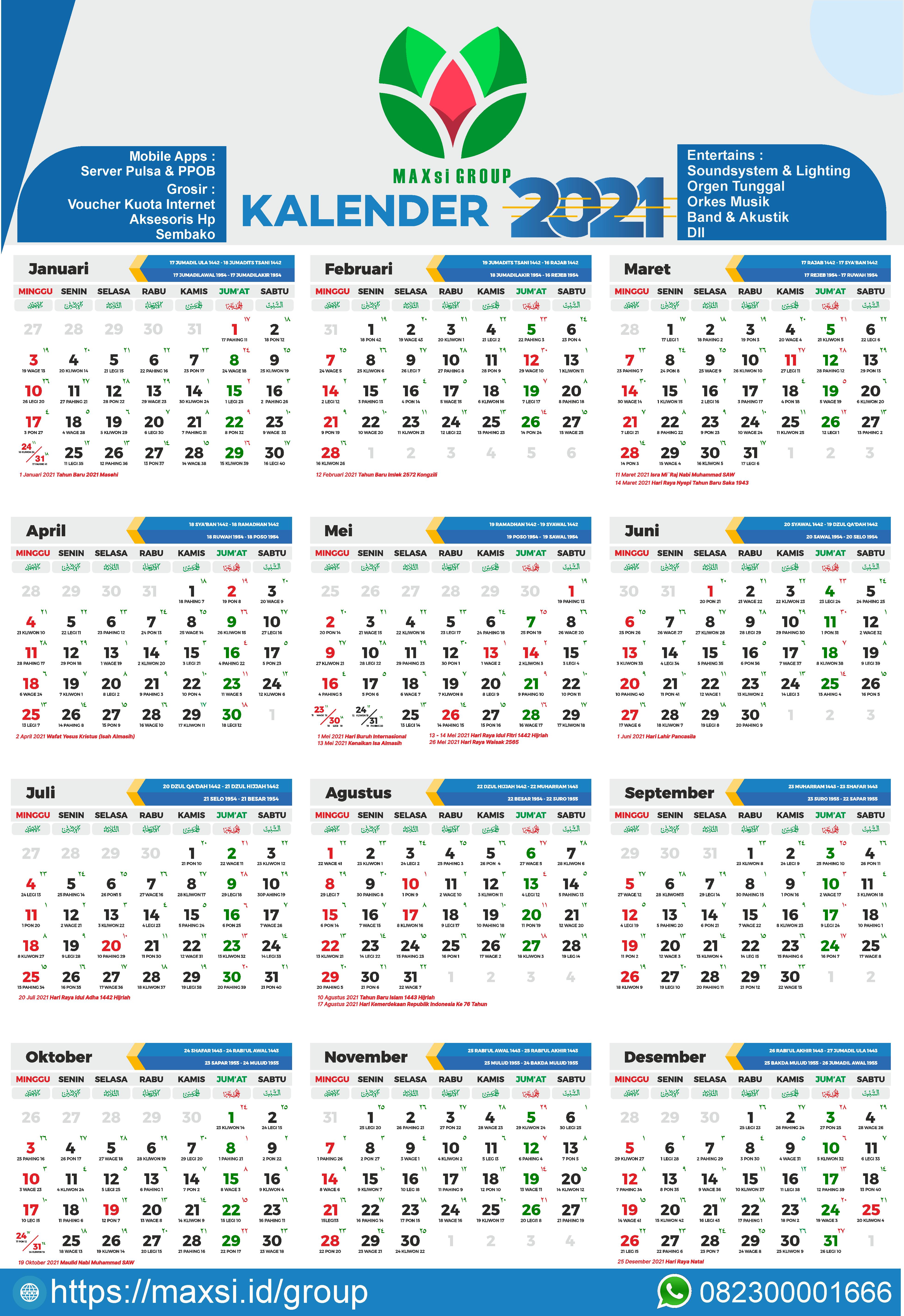 Download Kalender 2021 Gratis CDR PNG - MAXsi GROUP - MAXsi.id